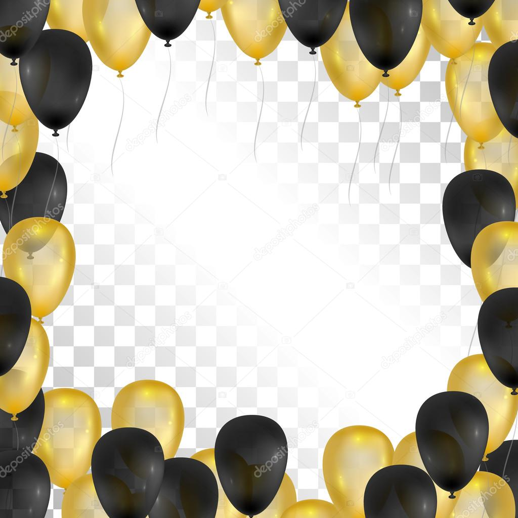 Balloons on transparent background gold and black frame vector balloons on transparent background gold and black frame for greeting cards vector balloons isolated 3d design vector by airindizain jeuxipadfo Image collections