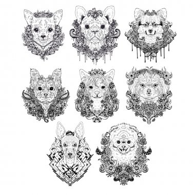 Hand drawn dog faces.