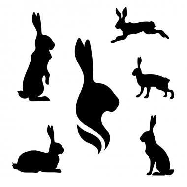 Hare set vector