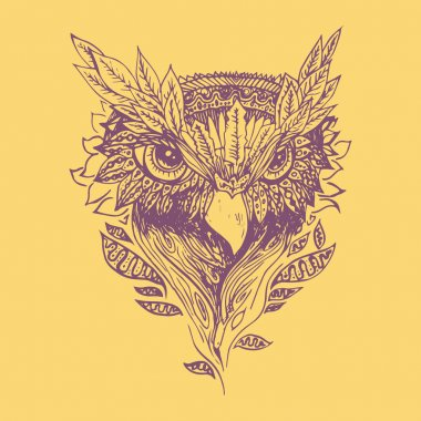 Abstract purple graphic owl, print.