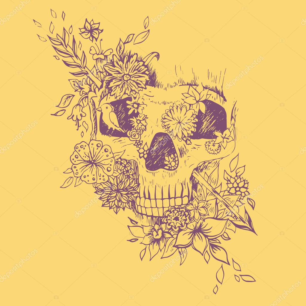 Abstract graphic skull, print.