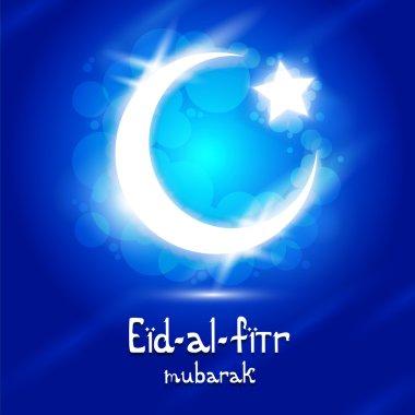 Vector Eid-Al-Fitr text with crescent