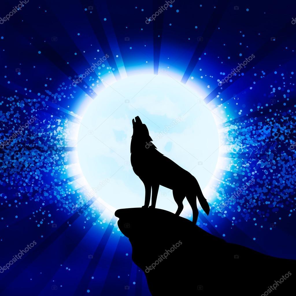 Lobo Aullando A La Luna Archivo Imágenes Vectoriales Airin