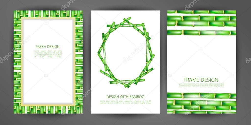 Conjunto de marco de bambú de vectores — Archivo Imágenes ...