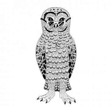 Hipster owl vector illustration.