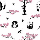 Photo Seamless pattern of sakura tree and panda.