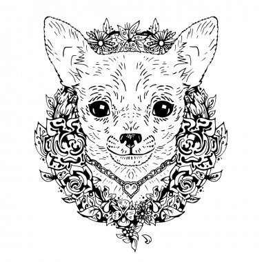 Chihuahua graphic dog, abstract vector illustration