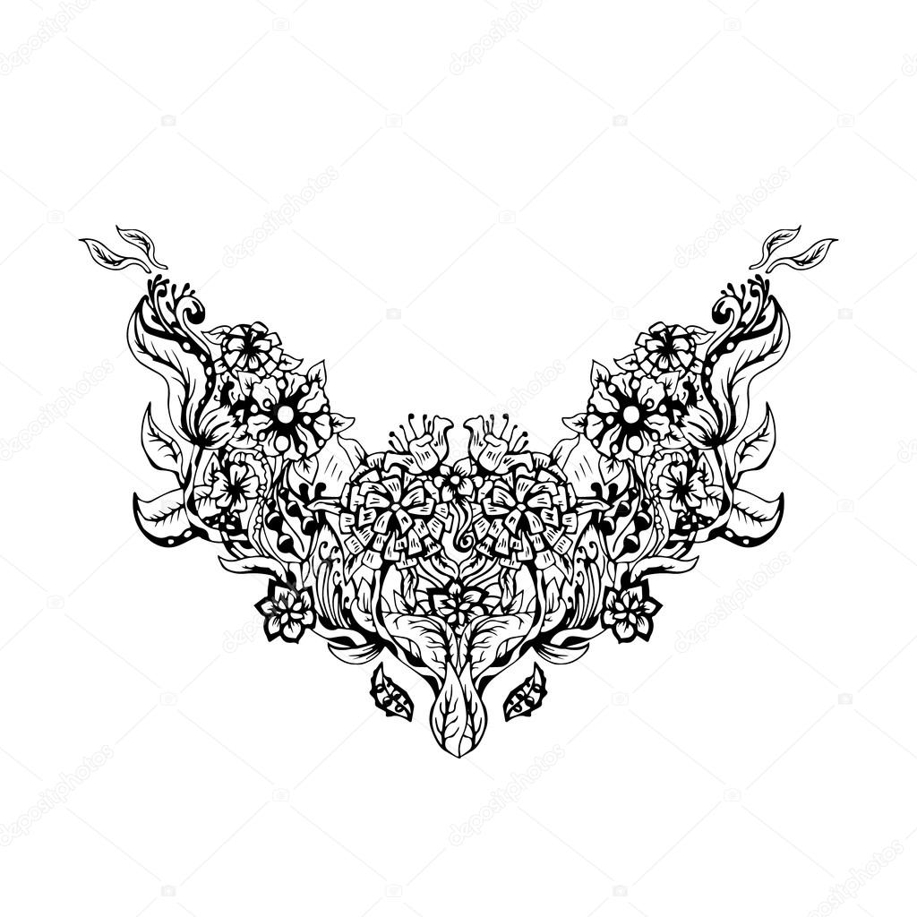 Floral pattern on collar, neck print. Vector illustration