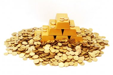 Gold ingots with gold coins