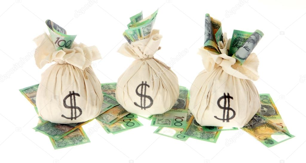 australian money with money bags ストック写真 hidesy 76004695