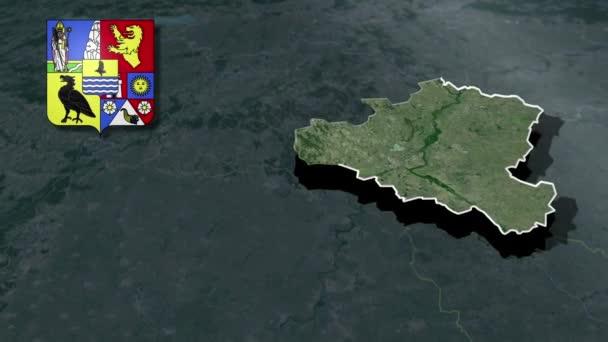 Ungarische Grafschaften Csongrad mit Wappenanimation Karte