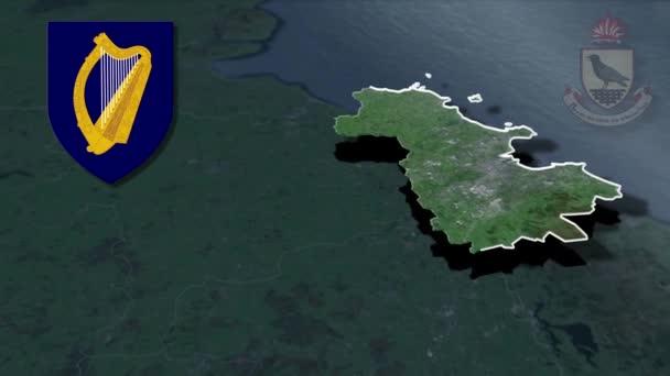 Countys of Ireland Dublin whit Wappen Animation Karte