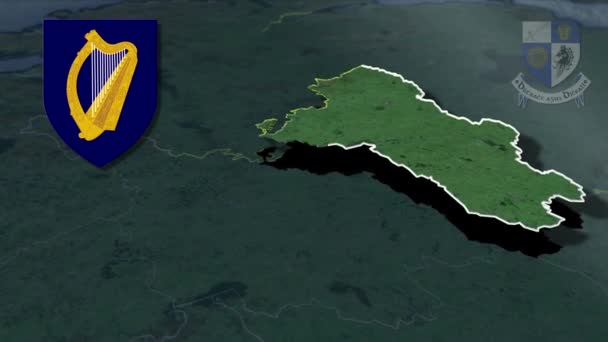 Countys of Ireland Monaghan whit Wappen Animation Karte