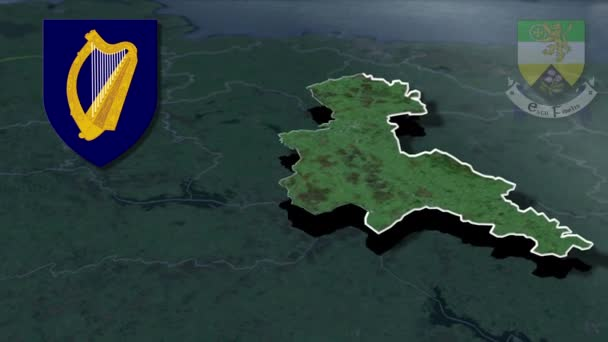 Counties of Ireland Offaly whit Wappen Animationskarte
