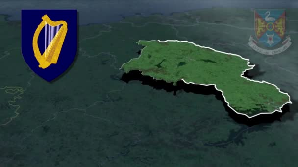 Countys of Ireland Westmeath whit Wappen Animation Karte