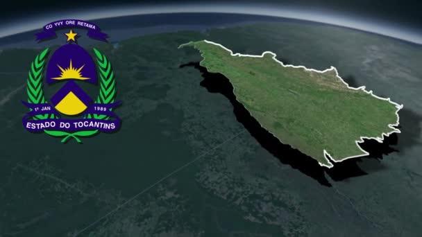 Staaten von Brasilien Tocantins whit Wappen Animationskarte