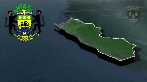 Provinz Gabun Ogooue-Maritime - Port-Gentil whit Wappen Animationskarte