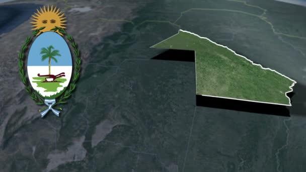 Verwaltungsgliederung Argentiniens Chaco mit Wappenanimationskarte