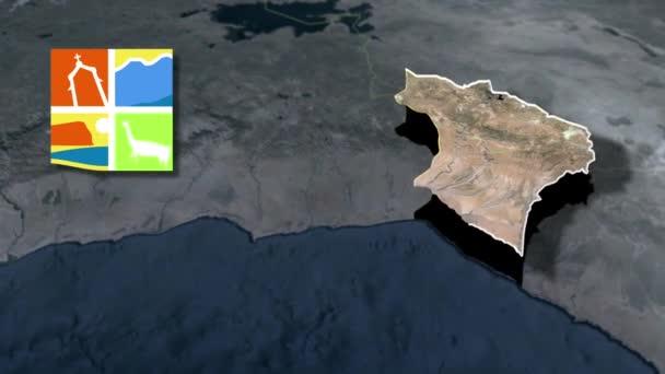 Regionen Chiles Arica y Parinacota mit Wappenanimationskarte