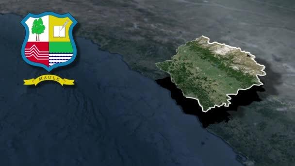Regionen von Cile Maule mit Wappenanimation Karte