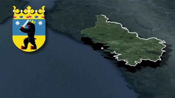 Regionen Finnlands Satakunta whit Wappen Animation Karte