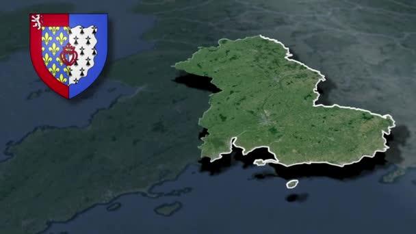 Regionen Frankreichs Pays de la Loire whit Wappen Animationskarte
