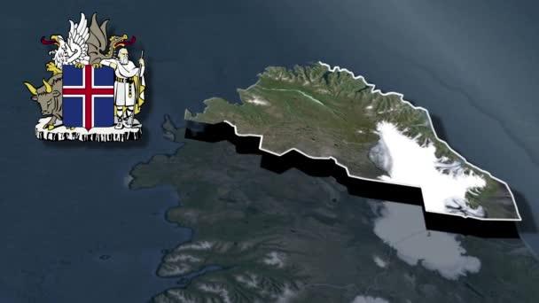 Regionen Islands östliche Region mit Wappenanimation Karte
