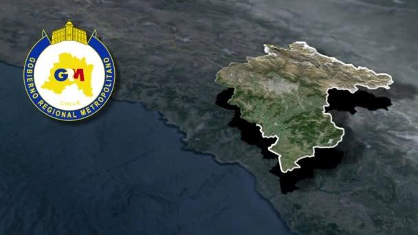 Regionen Chiles Santiago Metropolregion mit Wappenanimationskarte