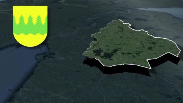 Finnische Regionen Kainuu mit Wappenanimationskarte