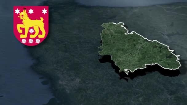 Regionen Finnlands Tavastia Proper whit Wappen Animation Karte