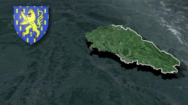 Regionen in Frankreich Franche-Comte mit Wappenanimation Karte