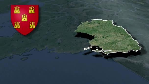 Regionen in Frankreich Poitou-Charentes whit Wappen Animation Karte