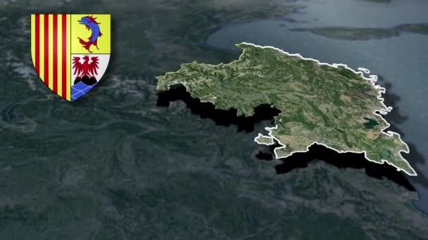 Regionen in Frankreich Provence-Alpes-Cote d Azur mit Wappenanimationskarte