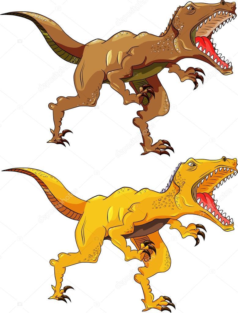 Vektör çizim öfkeli Dinazor Raptor Toprak Ve Sarı Renkler Stok