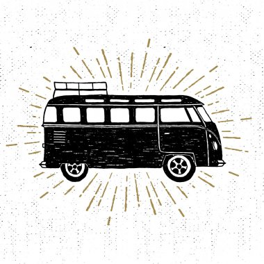 Hand drawn textured vintage icon with minivan vector illustration