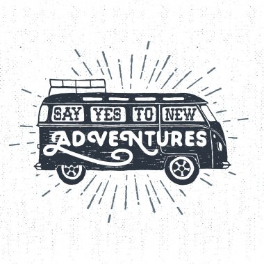 Hand drawn textured vintage label with minivan vector illustration and