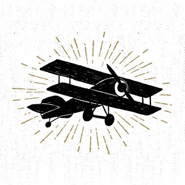 Hand drawn vintage icon with biplane vector illustration