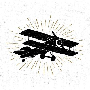 Hand drawn vintage icon with biplane vector illustration