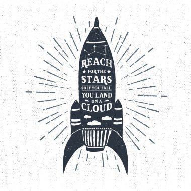 Hand drawn textured vintage label with rocket vector illustration and