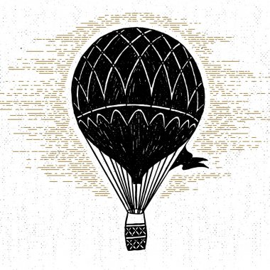 Hand drawn textured vintage icon with hot air balloon vector illustration