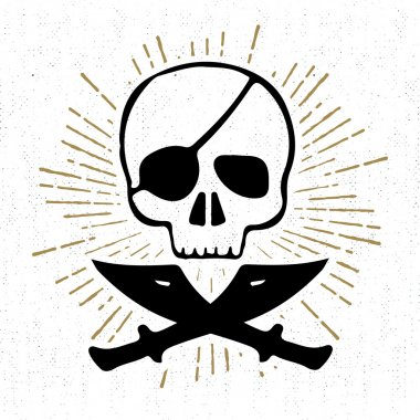 Hand drawn textured icon with pirate skull vector illustration
