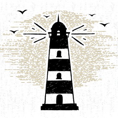 Hand drawn textured icon with lighthouse vector illustration