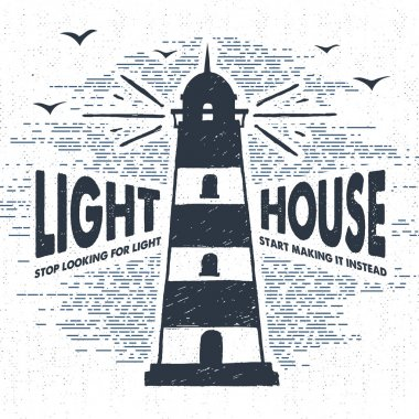 Hand drawn textured vintage label, retro badge with lighthouse vector illustration.