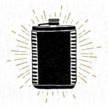Hand drawn vintage icon with a textured flask vector illustration