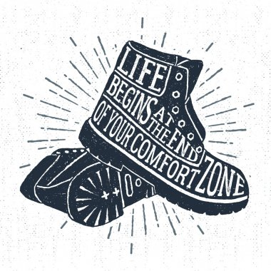 Hand drawn vintage label with textured boots vector illustration.