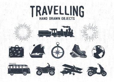 Hand drawn textured vintage travel icons set.