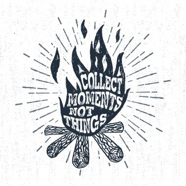 Hand drawn vintage label with textured campfire vector illustration.
