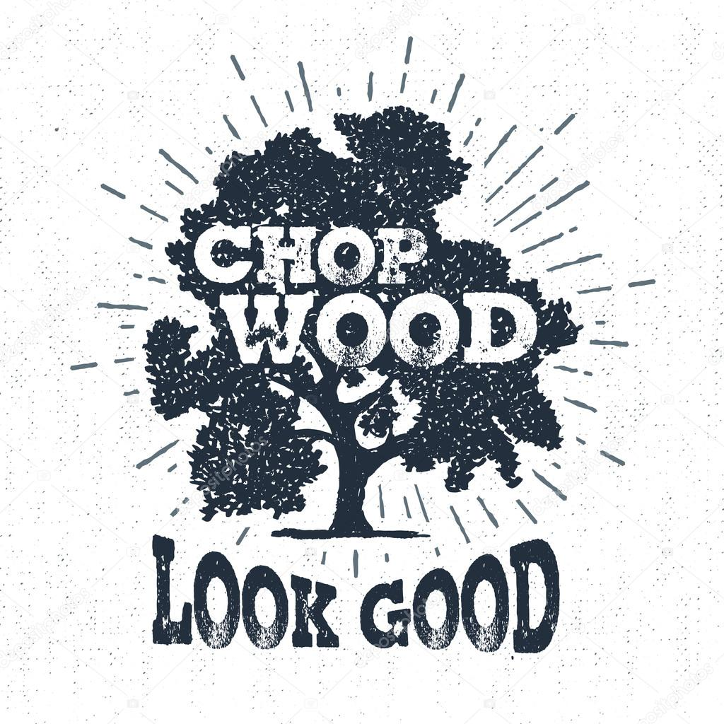 Hand drawn label with textured oak tree vector illustration.