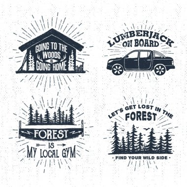 Hand drawn vintage badges set with textured wooden cabin, pickup truck, saw, and forest illustrations.