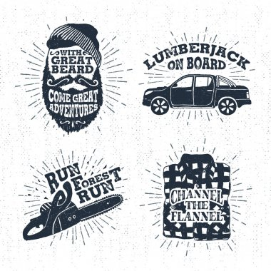 Hand drawn vintage badges set with textured bearded face, pickup truck, chainsaw, and plaid shirt illustrations.